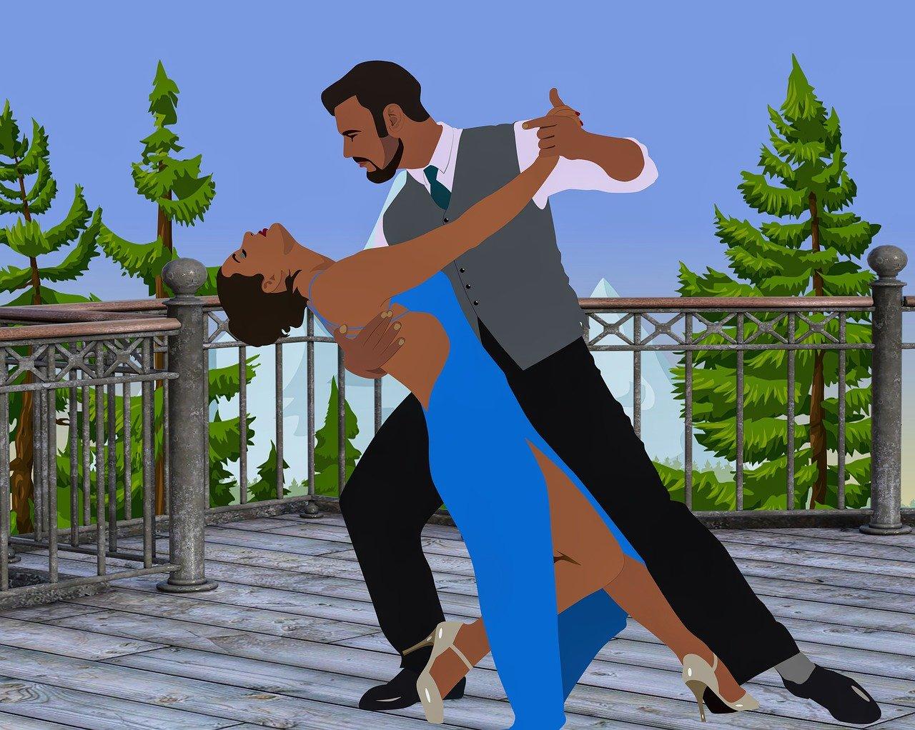 ilustracja przedstawia parę tancerzy
